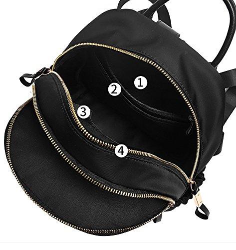 CLOTHES- Sacchetto di spalla femminile Zaino della mummia della borsa della signora di Oxford della tela di canapa di modo coreano casuale di modo selvaggio ( Colore : Viola ) Nero