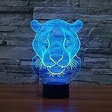 KEEDA 3D Optische Illusions Lampen, LED Touch Schreibtisch Lampe, 7 Farbwechsel Tischlampe Licht, LED Nachtlicht Kinder Dimmbar, 7 Color Changing Table Light Lamp, mit USB Kabel (Löwe)