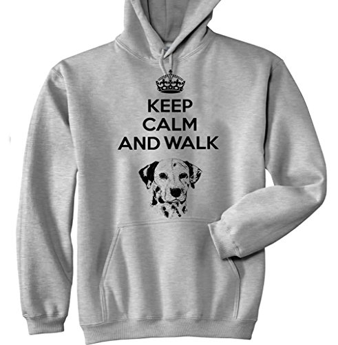 Teesquare1st Men's KEEP CALM & WALK THE DALMATION Grey Hoodie XLarge Size