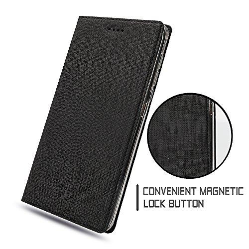 Nokia 6 Hülle,Eactcoo Dünn Premium PU Leder klappbares Folio Flip Case Book TPU Cover Bumper Tasche Mit Standfunktion Magnetverschluss Kartenfach Wallet Handyhülle Für Nokia 6 (Red) Black