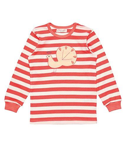 Sense Organics Mädchen Zweiteiliger Schlafanzug Long John Retro Girls Pyjama GOTS, Mehrfarbig (Coral Stripes + Peacock Appl. 791005), 98 (Herstellergröße: 2Y) (Pyjama-hose John Long)