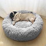 Wuudi Haustierbett 50 cm Hundebett Katzenbett Rund Weich und Weich für Haustiere/ Welpen/ Haustier/ Katzenbett in Doughnut-Form Hellgrau