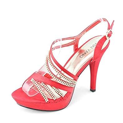 SHOEZY , Sandales pour femme - Rouge - Rouge, 38 EU