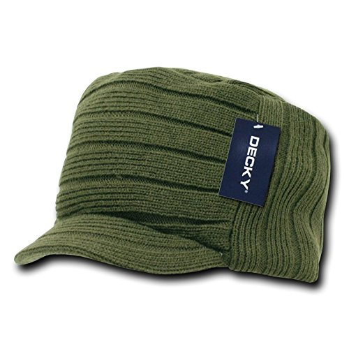 Decky Knitted Flat Top Cap Beanie with Visor