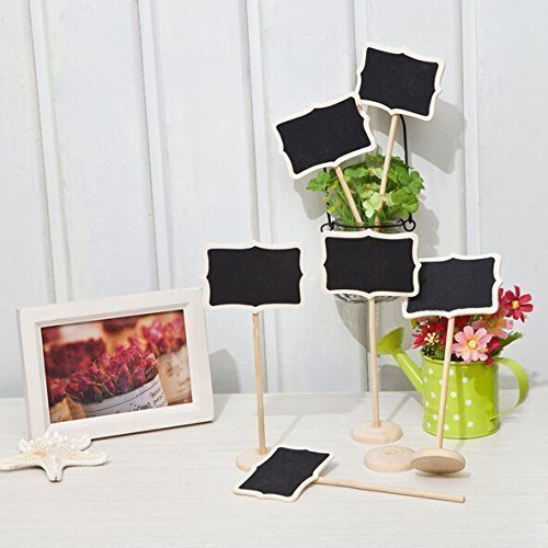 Joinwin?Hot Sale 12 Mini Retangle Chalkboard Blackboard with Stand Wedding Party Table Numbers Place Card Favor Tag Plant Marker by Joinwin by Joinwin