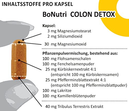 BoNutri Colon Detox Darmreiniger Qualität aus Deutschland Darmreinigung Darmsanierung Cleanse 90 vegane Kapseln Ohne Magnesiumstearat Diätbegleitung Entgiftung Monatsbedarf