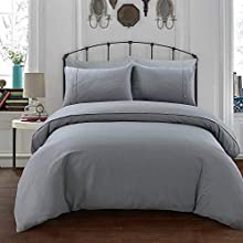 Sleepdown Simple and Classy Waffle Design Grey Duvet Cover and Pillow Cases Bedding Set with Buttons Closure(Double)