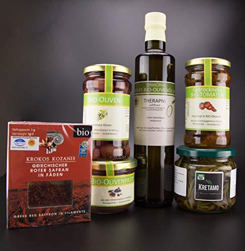 Feinkostset allesOlive Kretamo, Oliven, Olivenpaste, Safran, getrocknete Tomaten und Olivenöl
