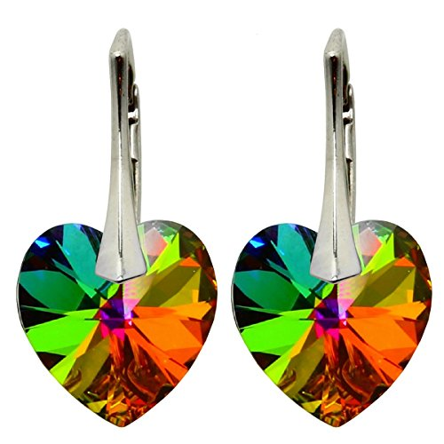 Ohrringe mit Kristallen von Swarovski in geprüfter Qualität m3crystal Ohrringe Silber 925 Stein VM Herz 14mm Ohrringe Nickelfrei Damen, Schmuck für Damen Modeschmuck