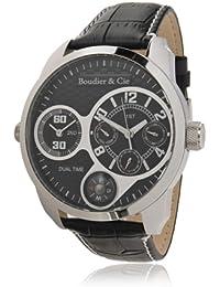 Boudier & Cie Herren World Timer Kingsize Collection Automatik Armbanduhr mit multifunktionalem Zifferblatt - Analoge Anzeige - Echtlederarmband Gehäuse aus Edelstahl Größe XL - OZG1083