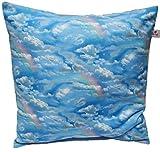 Kissenbezug 40 X 40 cm Wolken Hellblau Wölkchen Blau Zierkissenbezug Regenbogen Kissen zum kuscheln 100% Baumwolle BW Handmade