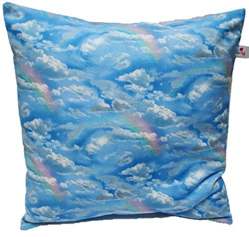 """Kissenbezug 40 X 40 cm"""" Wolken Hellblau"""" Wölkchen Blau Zierkissenbezug Regenbogen Kissen zum kuscheln 100% Baumwolle BW Handmade"""