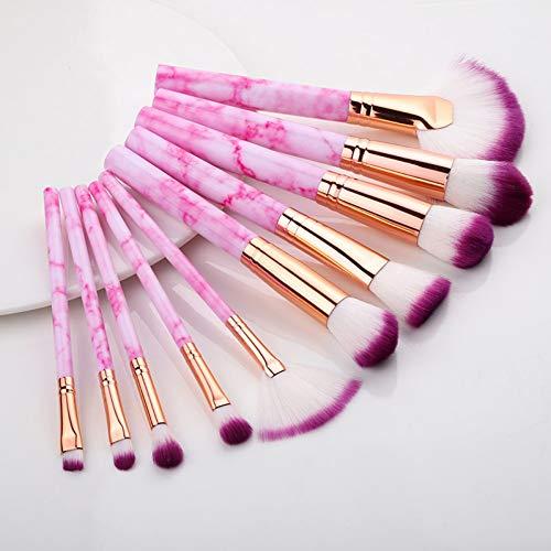 10 piezas de maquillaje profesional conjunto de pinceles función completa fundación polvo...