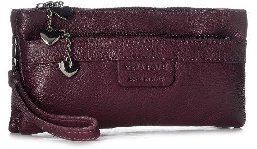 BHBS Damen Clutch Tasche aus echtem itelienischem Leder mit mehreren Tascheh Herz Charm 22 x 11 x 5 cm (B x H x T) - Maroon (Maroon Damen Herz)