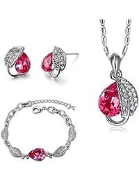 MONDAYNOON Conjuntos de Joyas Mujer Collar Colgante Pulsera Pendientes Cristales ♥ Regalo San Valentin ♥ para Novia y Mujer