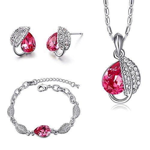 4f6a448ad322 MONDAYNOON Juegos de Joyas Conjunto Mujer Collar Colgantes Pulsera  Pendientes Hoja Austríaco Cristales Regalo Set para