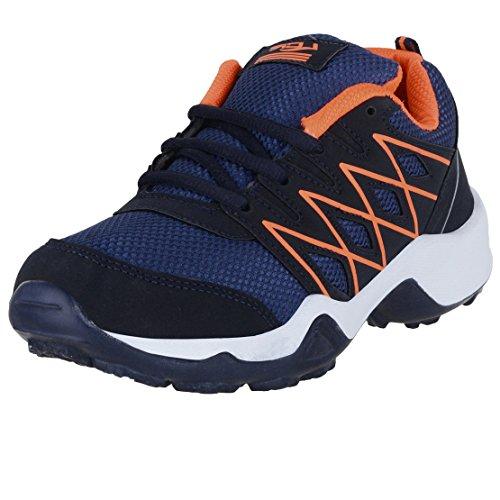 Lancer Boy's and Girl's Navy Orange Mesh Running Shoes - 4 UK