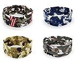 Bllomsem 4 Stücke Sport Yoga Headbands, Stretch Baumwolle Camouflage Stirnbänder, Männer und Frauen Lauf Stirnbänder Antitranspirant Haarband Camouflage