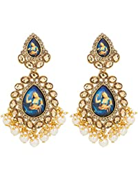 The Luxor Traditonal Gold Plated Kundan Dangler Temple Jewellery Earring For Women And Girls -ER-1825