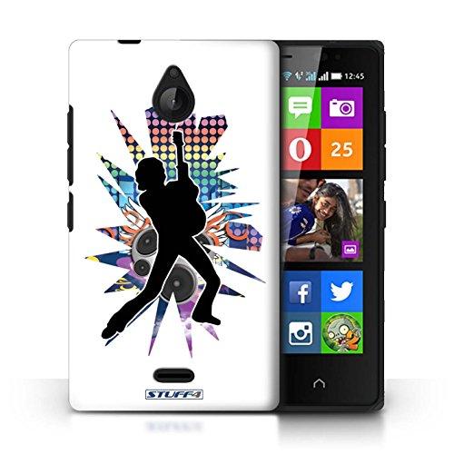 Kobalt® Imprimé Etui / Coque pour Nokia X2 Dual Sim / Atteindre Blanc conception / Série Rock Star Pose Pencher Blanc