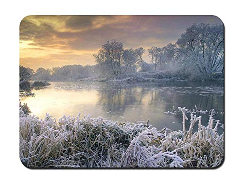 Mouse Pad - Winter Lake Frost Reeds - Customized Rectangle Non-Slip Rubber Mousepad Gaming Mouse Pad - Winter Reed