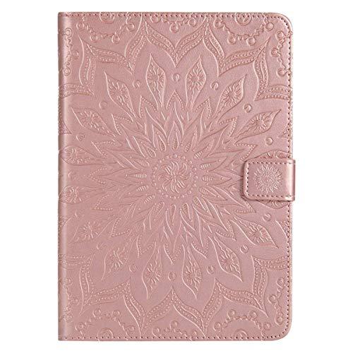 Felfy Kompatibel mit Hülle iPad Mini 1 / Mini 2 / Mini 3 Hülle Rose Gold PU Leder Elegante Retro Handyhülle Tasche Flip Cover Wallet Sonnenblume Prägung Muster Strap Brieftasche Ledertasche -