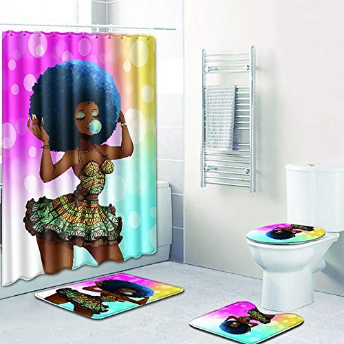ZYHA 4-Teiliges Duschvorhang Set Badezimmer Matte Afrikanische Frau Anti-Rutsch-WC-Vorleger + Deckel WC-Abdeckung + Badematte + Duschvorhang 180 * 180CM mit 12 Haken für Schwimmbad Toilet