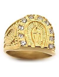 BOBIJOO Jewelry - Bague Chevalière Camargue Gitan Fer à Cheval Vierge Sara  Acier Doré Plaqué Or 1fb81cb07ff