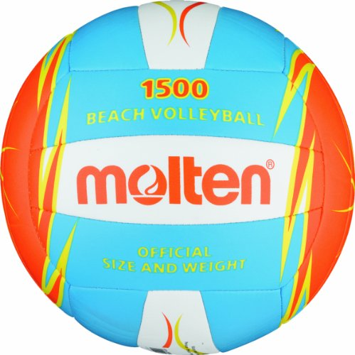 Molten Beachvolleyball V5B1500-CO, Blau/Weiß/Orange, Gr. 5