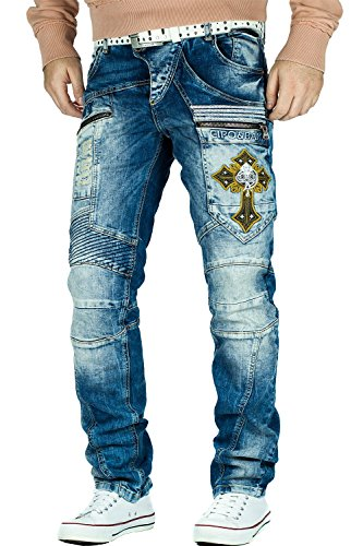 Cipo & Baxx Herren Jeans Freizeit Hose Clubwear Style Denim Disco Dope, White, 36W / 34L