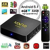 Android 8.1 TV Box, 2018 4GB 32GB LinStar MX10 Smart 4K TV Box RK3328 Quad Cora CPU 2.4G Wifi Set Top Box 3D 4K Ultra HD TV Stream Media Player Con Telecomando