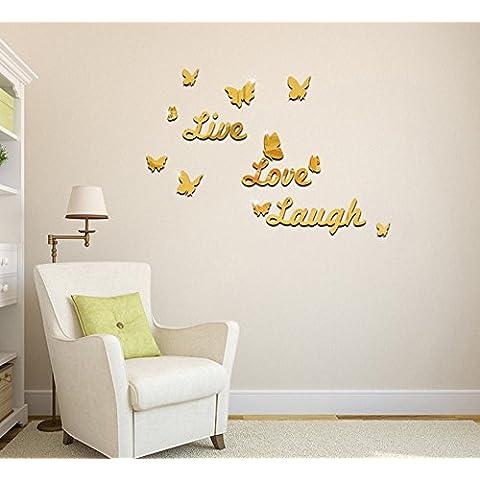 Extsud® Adesivo Murales Carta da Pareti Live Love Laugh Farfalle,