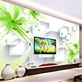 Personnalisé 3D Photo Papier Peint Romantique Vert Lily Fleur Moderne Mode Simple Salon Tv Fond Murale Murale Home Decor 450(L) X300(H) Cm