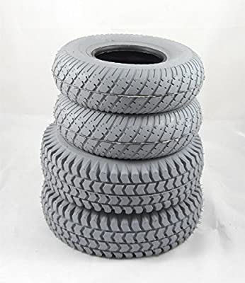 Set of 4 Grey Block Tyres for Sapphire 2 (2 x3.00-4) (2 x 2.80-2.50-4)