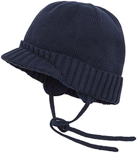 Sterntaler Unisex Strickmütze mit Schirm, Ohrenklappen und Bindebändern, Alter: ab 6-9 Monate, Größe: 45, Blau (Marine)