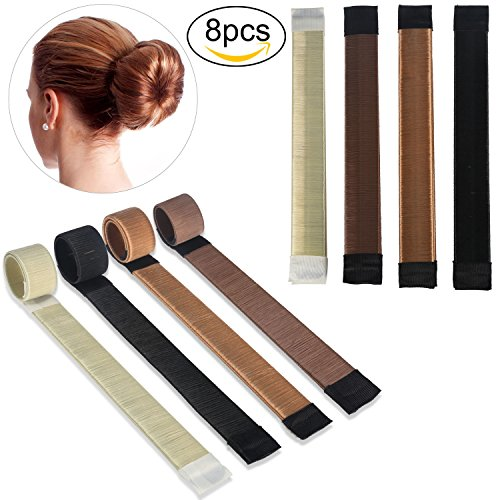 ivencase 8 Stücke Haarknoten Fashion Haarstyling Tool Donut Hair Bun Maker Damen Fashion Haare Styling Werkzeug-Brautfrisur - vier Farben Mode Haarschmuck