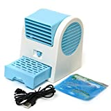 SODIAL(R) Adjustable Angles USB Electric Air Conditioning Mini Fan Air Cooler Blue