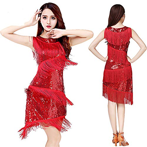Latin Dance Dress Frauen Dancewear Pailletten Fransen Quasten Ballsaal Samba Tango Latin Dance Dress Wettbewerb Kostüme Great Gatsby Themed Party Swing Dress Einteiliges Bühnenkostüm (Great Gatsby Tanz Kostüme)