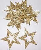 24Sterne zum Aufbügeln im Glitzerdesign, 35mm Außendurchmesser gold
