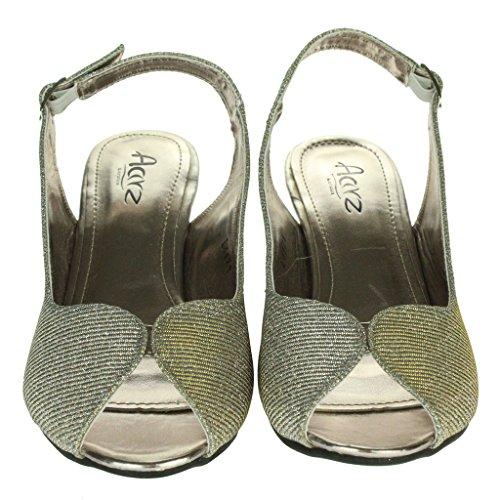 Frau Damen Schimmern Peep Toe Slingback Keilabsatz Abend Party Hochzeit Braut Prom Sandalen Schuhe Größe Zinn