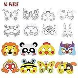 Cozywind 16 Pezzi Maschere di Animali per Bambini Maschere con Corda con Matite Colorate per Feste, Natale, Halloween
