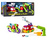 Edukid Spielzeug Easy Build & Play Power Tool Set, Bike & Fire Truck 65 Stück