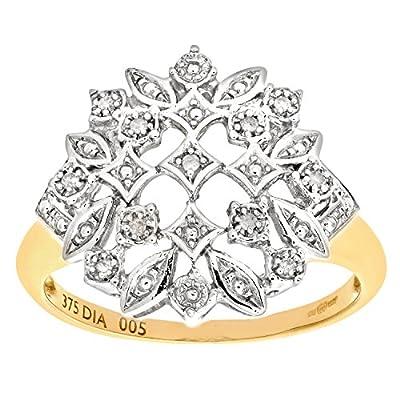 Naava 9ct Yellow Gold Diamond Fancy Cluster Ladies Ring