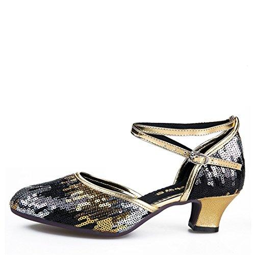 Wxmddn Ladies'scarpe balletti scarpe danza scarpe tango ginnastica danza jazz scarpe danza allenatori scarpe pratica performance Dance scarpe per ragazze donne Oro nero 3.5cm esterno