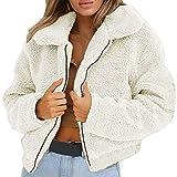Riou Chaqueta de Manga Larga de Invierno con un suéter Casual de imitación de Lana con Cremallera, Invierno, señoras, cálido Invierno