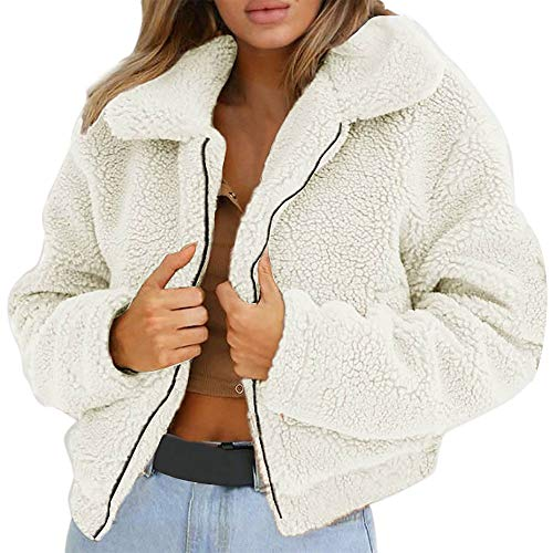 (AMUSTER Damen Warme Künstliche Wollmantel Reißverschluss Jacke Winter Parka Outerwear Plüsch Mantel Winter Stepp Warmen Outwear Cardigan Lange Ärmel Einfarbig Strickjacken)
