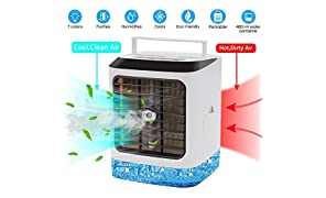 CWS Portable Air Cooler, 4 in 1 Small Personal Space Air Conditioner Cooler and Humidifier , Air Cooler Desk Fan Cooling with Portable Handle for Home Room Office