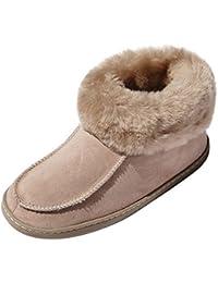 Lammfell Hausschuhe - Ibiza Damen Schuhe Hüttenschuhe Fellschuhe Bettschuhe mit Weicher Sohle Größe EUR 37