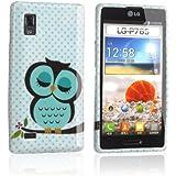 tinxi® Schutzhülle für LG Optimus L9 Hülle TPU Silikon Rückschale Schutz Hülle Silicon Case mit Eule Owl Muster in Hellgrün