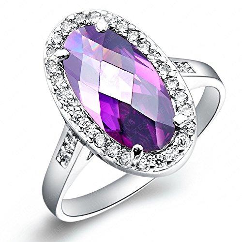 Unory (TM) ben progettato gioielli delle donne anelli ovali Cut Amethyst imitazione platino reale placcato anello di modo CRI0065-B - Ovale Platino Anello